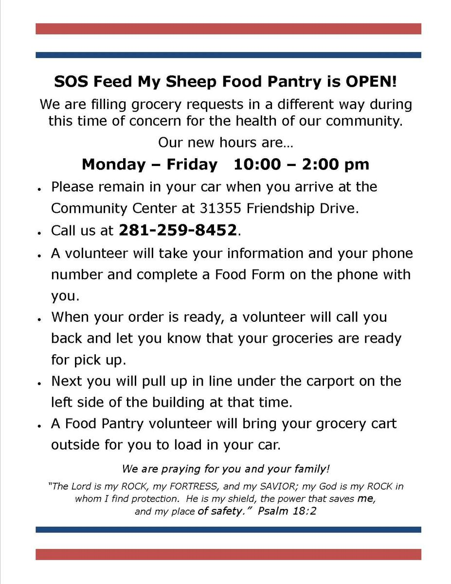 Society of Samaritans Food Pantry is open to families