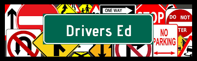 Road signs with words Driver Education