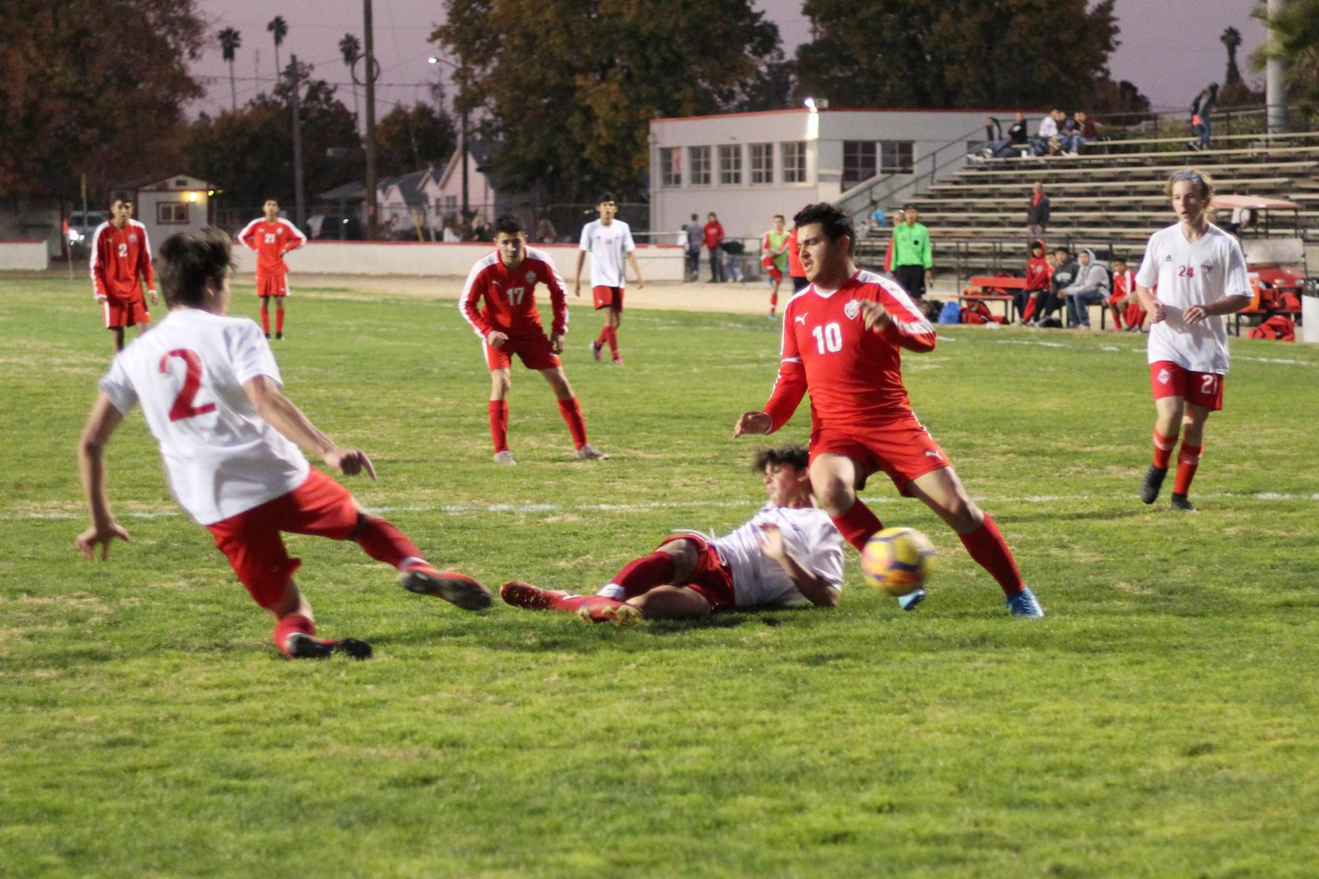 David Flores Chavez stealing the ball