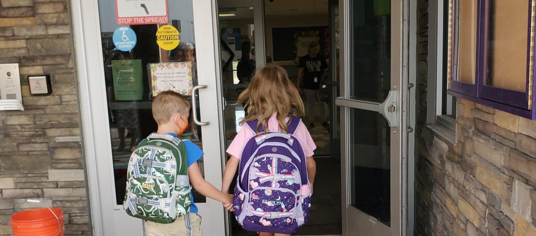 Students Entering the Building on the First Day of School 2021-2022
