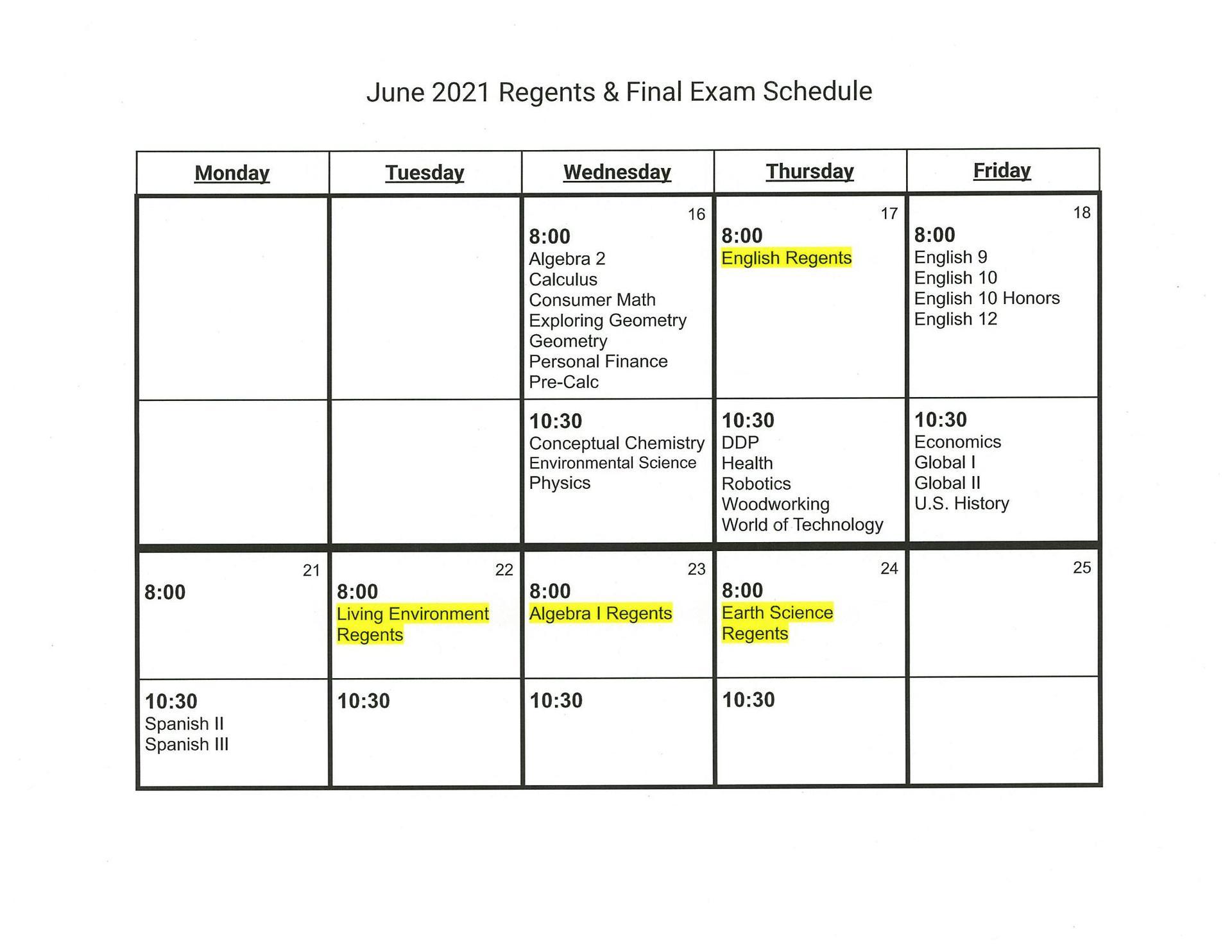 2021 HS Final Exams Schedule