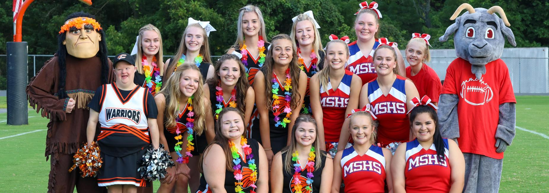Photo of CHS and MSHS cheerleaders and mascots