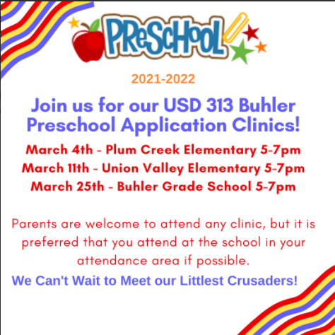 Buhler Preschool Application Clinic @Union Valley on March 11th from 5-7 pm Thumbnail Image