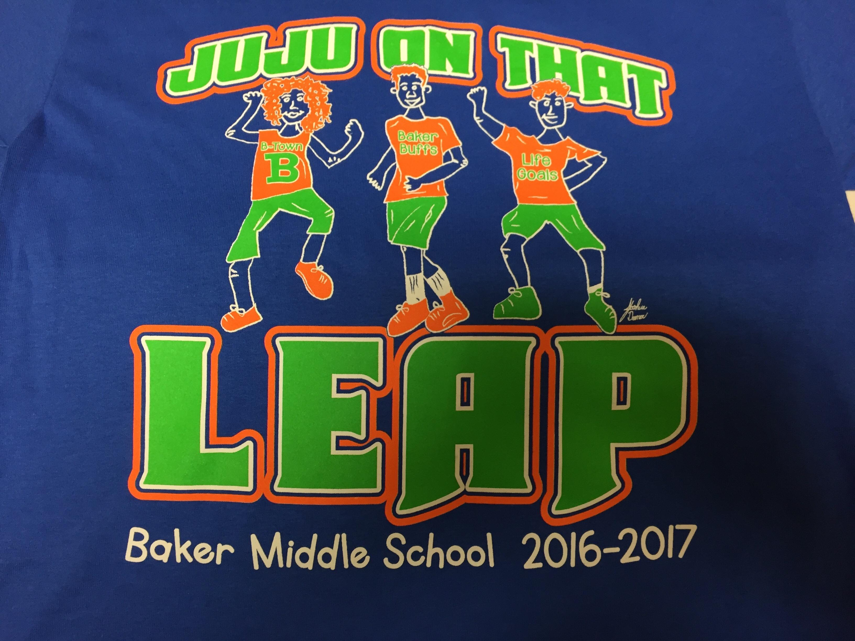 Photo of the Print Screen for the Newly Designed Baker Middle LEAP TShirt