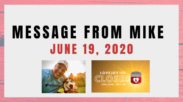 Message from Mike: June 19, 2020 Featured Photo