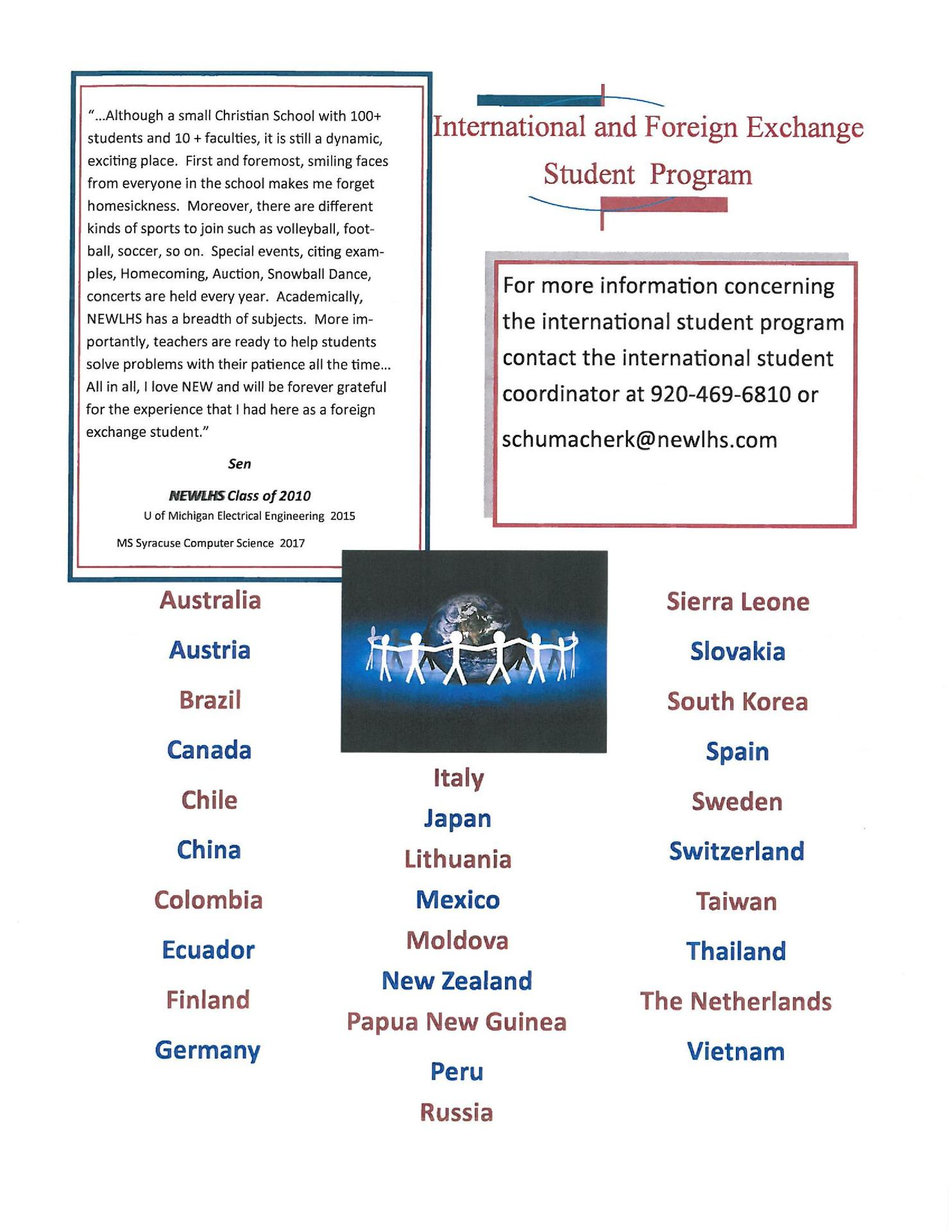 International Students – Admissions – Northeastern Wisconsin