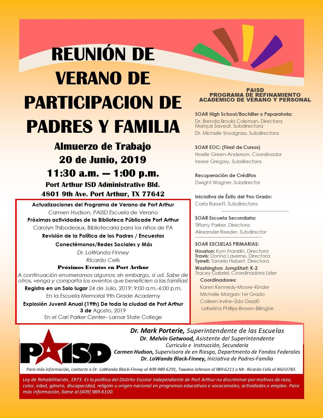 June 20/Parent Meeting Spanish