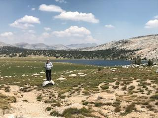 Stopping by Evelyn lake in Yosemite