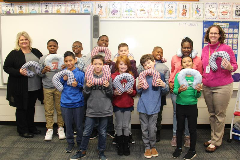Pictured is Mrs. Stephanie Shealy's class at B-L Elementary School.  The class recently worked with members of the William M. Summers American Legion Auxiliary Post 217 to create 100 neck pillows for service men and women flying in and out of the Columbia Metropolitan Airport.