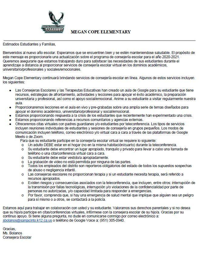2020-2021 Parent Letter in Spanish