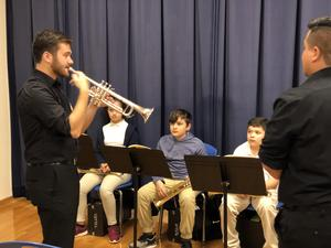 Trumpet students with instructor