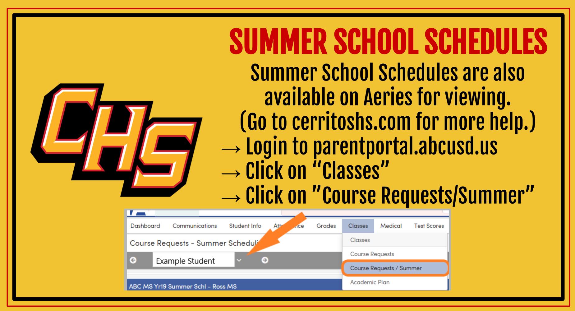Summer School Schedules Online Now