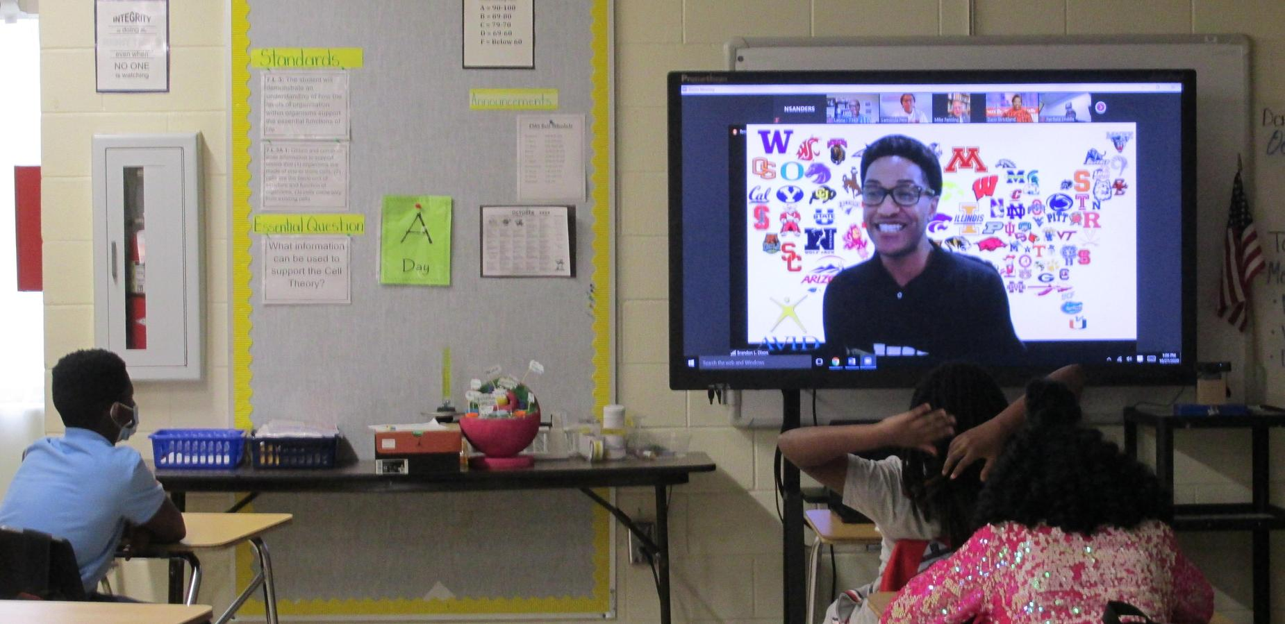 Students virtually talking to Mr. Dixon on AVID day
