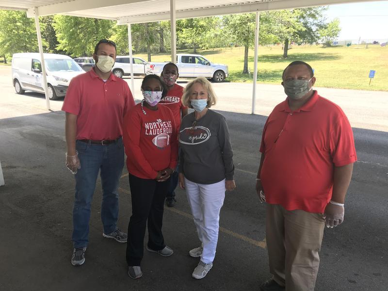 LCSD School Board Members Volunteering for NEE Grab & Go Meal Distribution