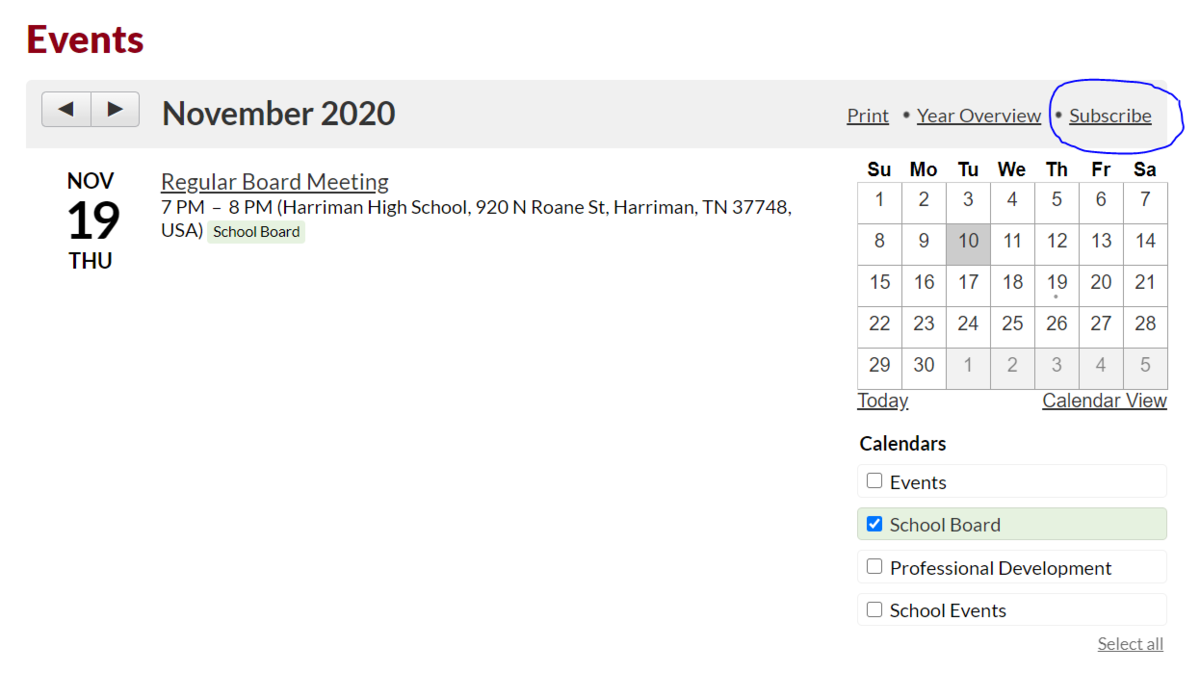 """image of school board calendar for november with the word """"subscribe"""" circled"""