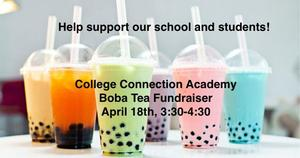 An image of boba tea with text stating the details of the fundraiser.