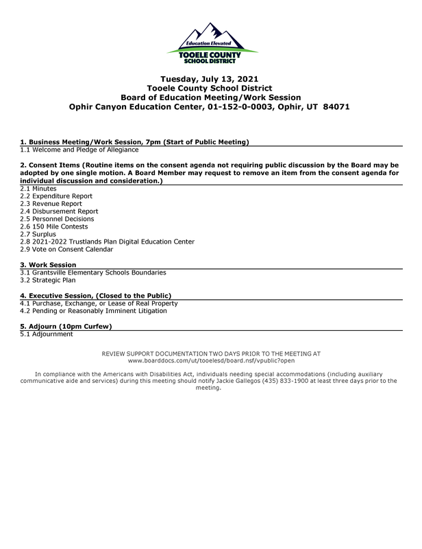 Board of Education Meeting  - July 13,  2021 Thumbnail Image