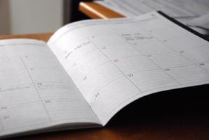 desk calendar open on desk