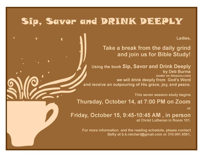 Sip, Savor and Drink Deeply- Women's Bible Study Featured Photo