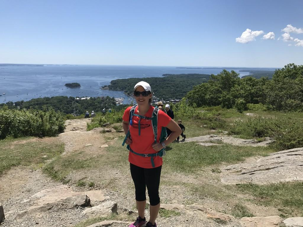 Ms Fasulo hiking on Mt. Battie in Camden, Maine