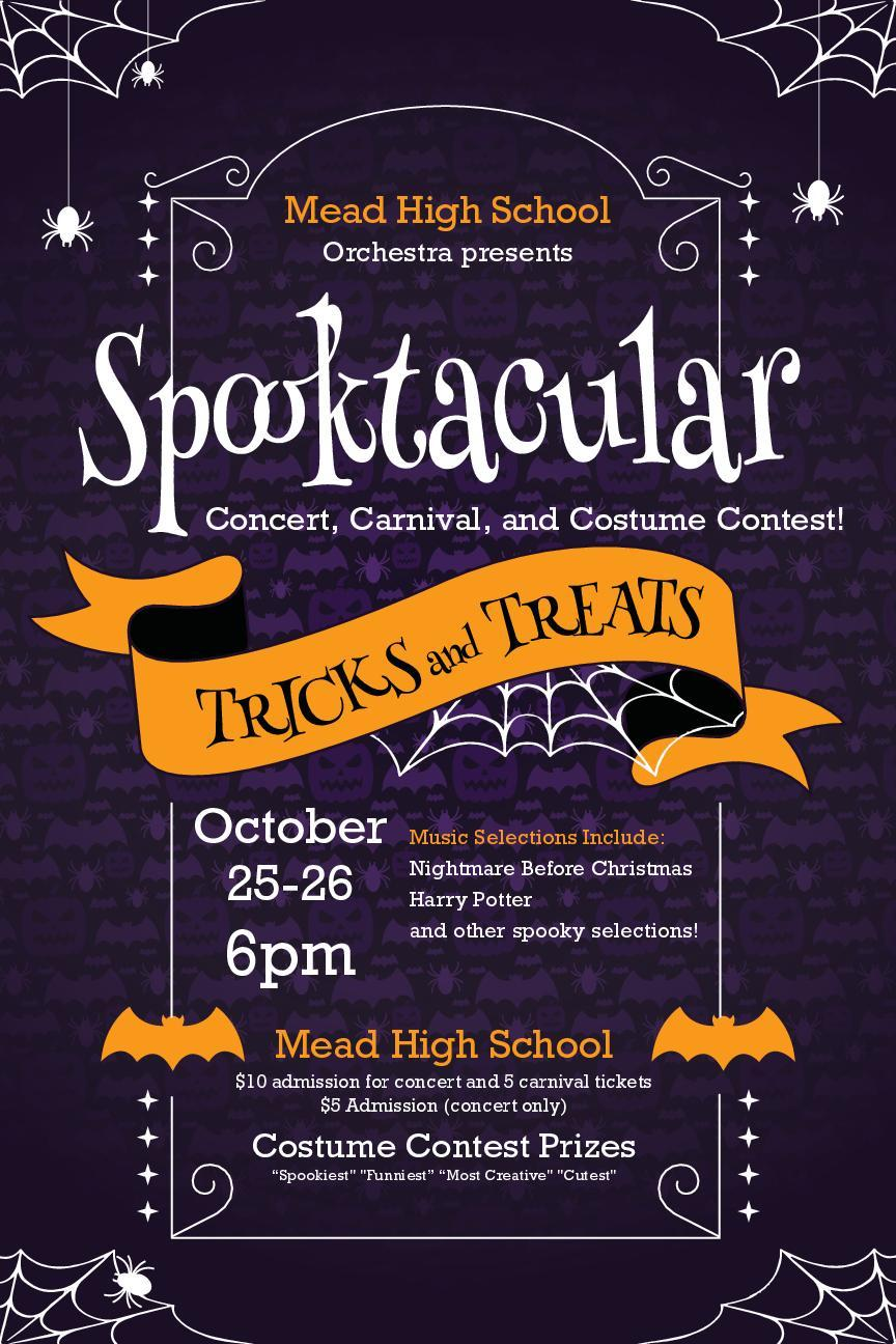 Flyer for the Mead Spooktacular concert, carnival, and costume contest put on by the Mead orchestra