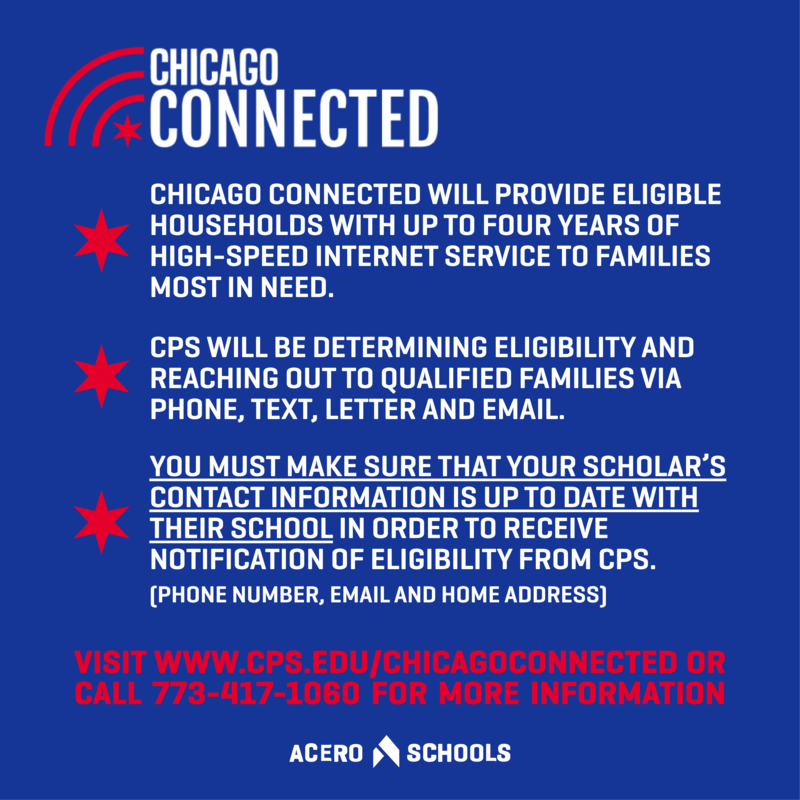 Chicago Connected. Click here for the CPS program that will provide free internet service to Chicago households.