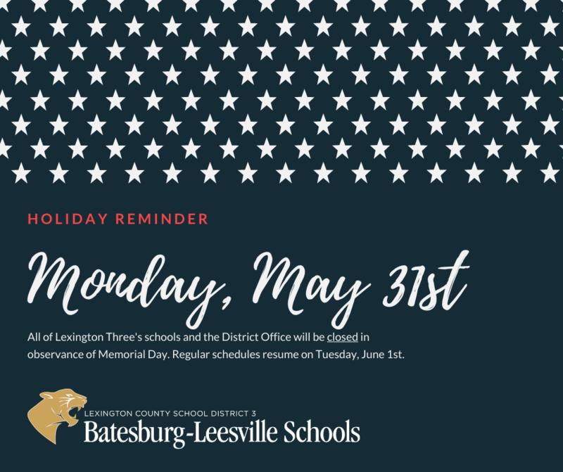 Memorial Day Holiday Reminder