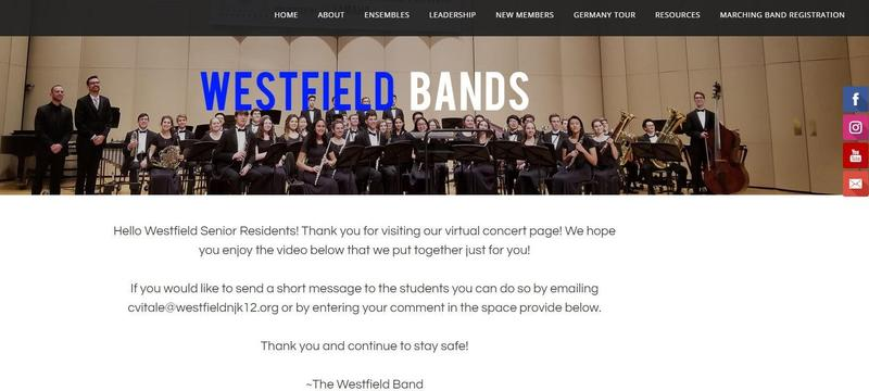 :  Westfield High School band students created a special virtual concert for seniors residents after COVID-19 prevented the students from performing in person.