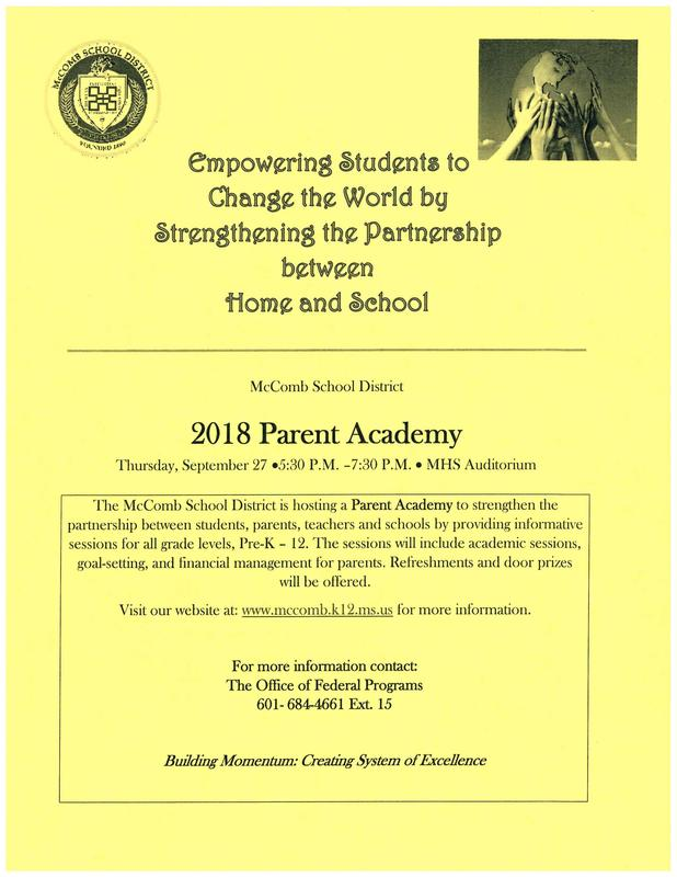 2018 Parent Academy, Sept. 27, 5:30 - 7:30 pm at McComb High School Auditorium