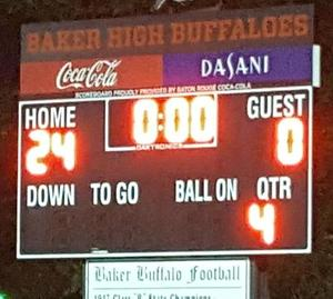 graphic of winning scoreboard 24-0 Baker Middle over Central