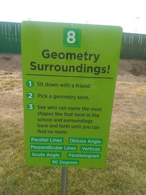 Geometry Surroundings sign at Snake River Elementary