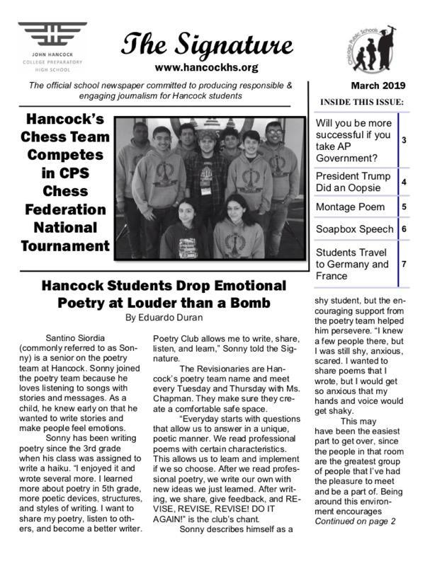March issue of the school paper