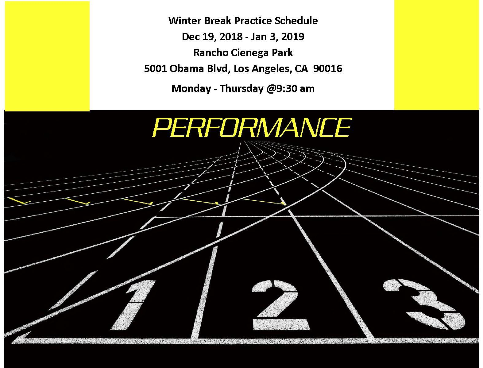 Winter Break Practice December 19 January 3 2019 Track And