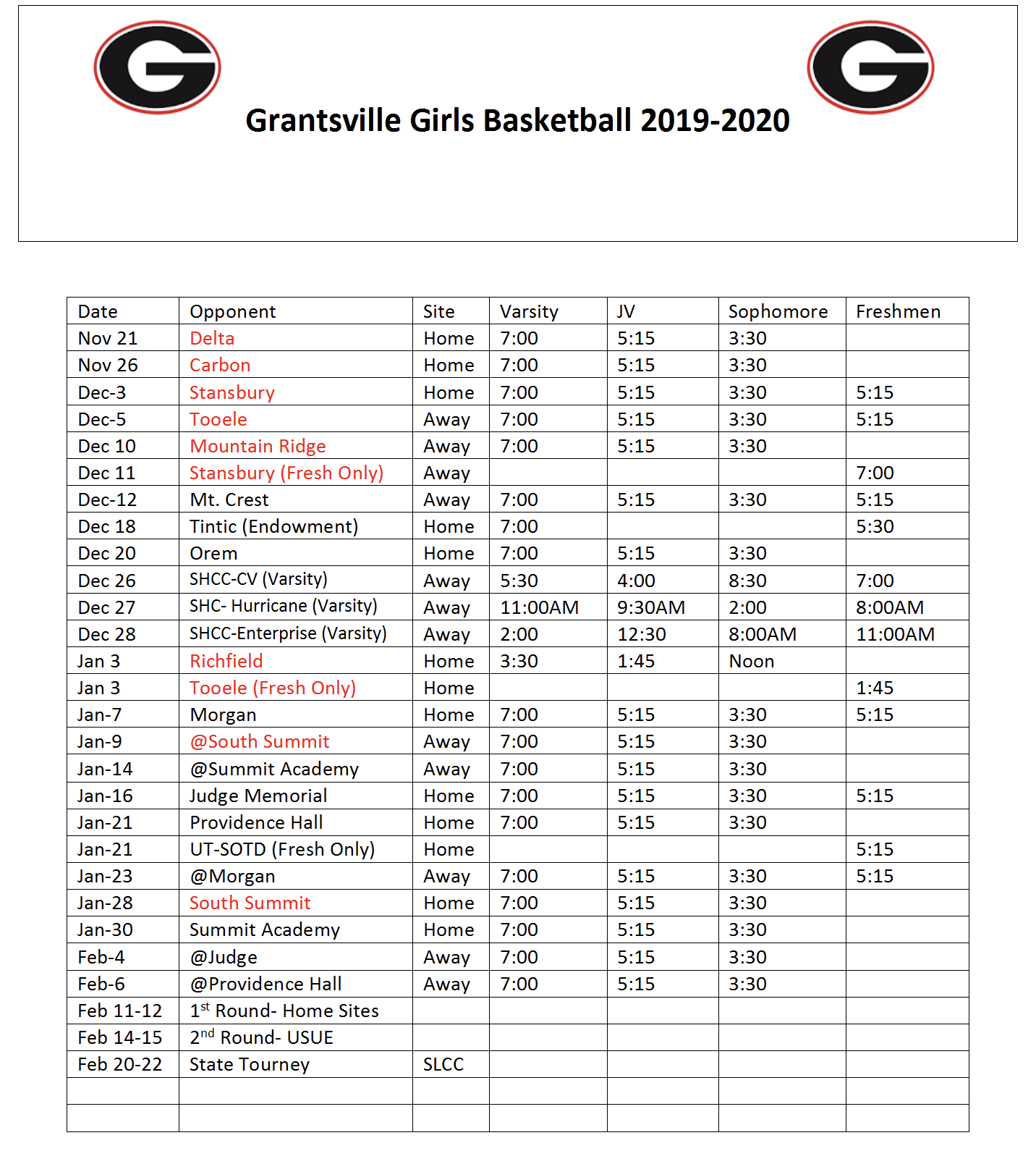 Girl's BBall schedule picture