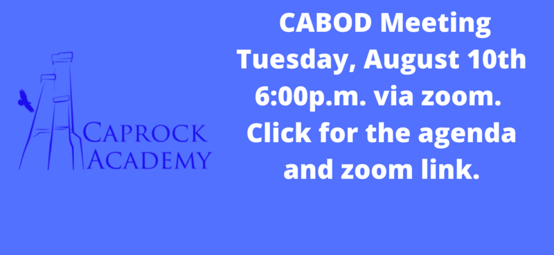 CABOD meeting Tuesday, August 10th.