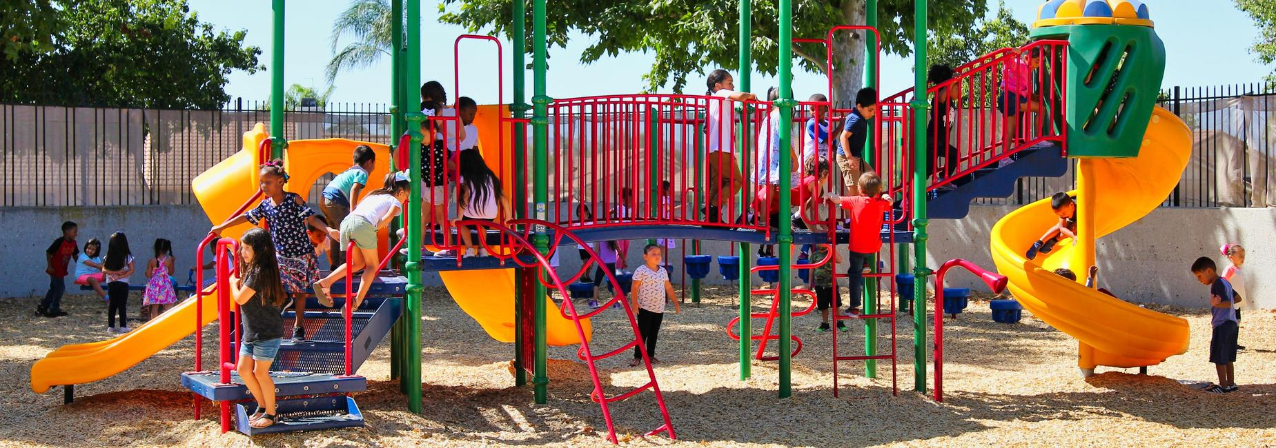 Students playing on a playground