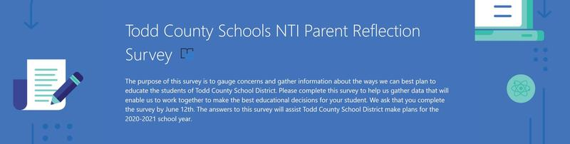 Todd County Schools NTI Parent Reflection Survey Featured Photo
