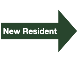 "Green Arrow with White Text that Reads ""New Resident"""