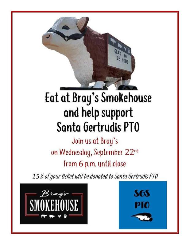 Eat at Bray's Smokehouse and help support  Santa Gertrudis PTO Featured Photo