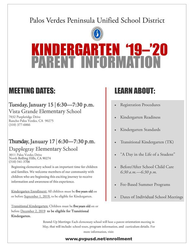 Kindergarten Parent Info Meetings