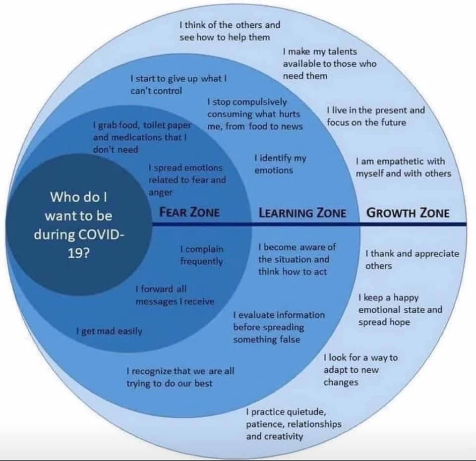 Who do I want to be during COVID-19? Fear Zone, Learning Zone, Growth Zone chart