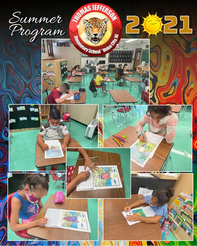 Students coloring at desk collage