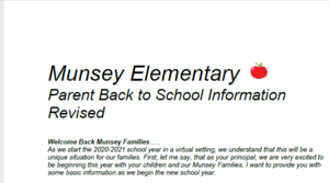 Revised Munsey Back to School Letter