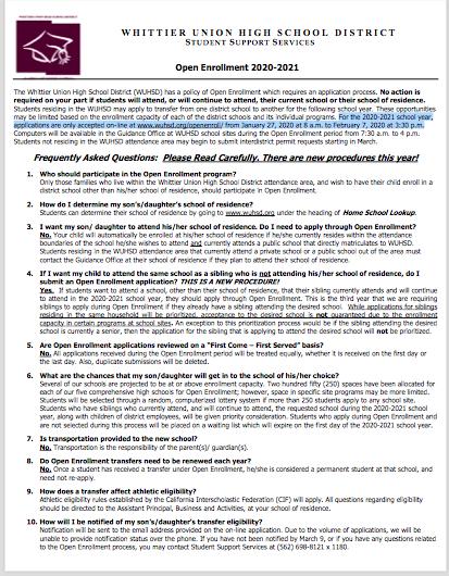 Open Enrollment Whittier Union High School Flyer