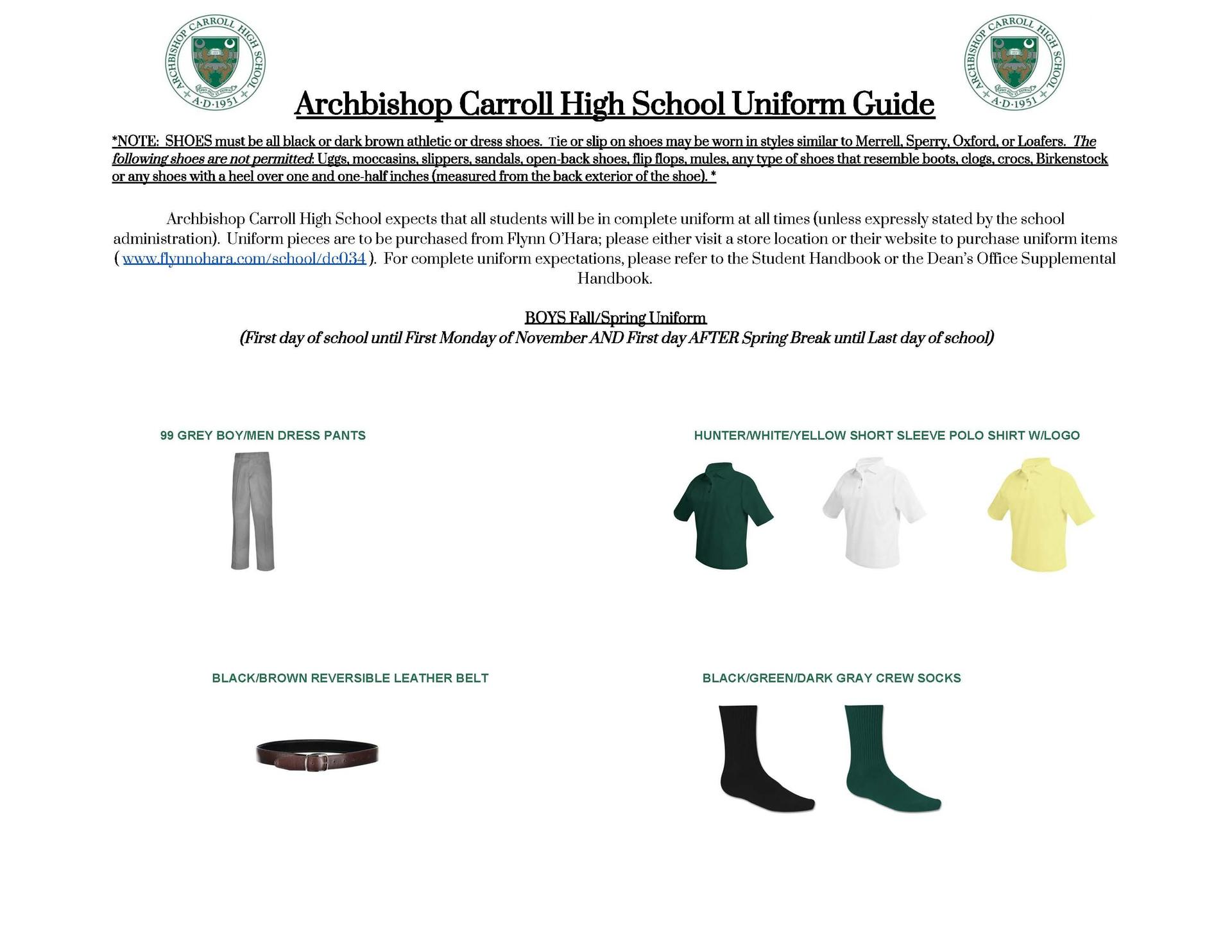 Dress Code – Student Life – Archbishop Carroll High School