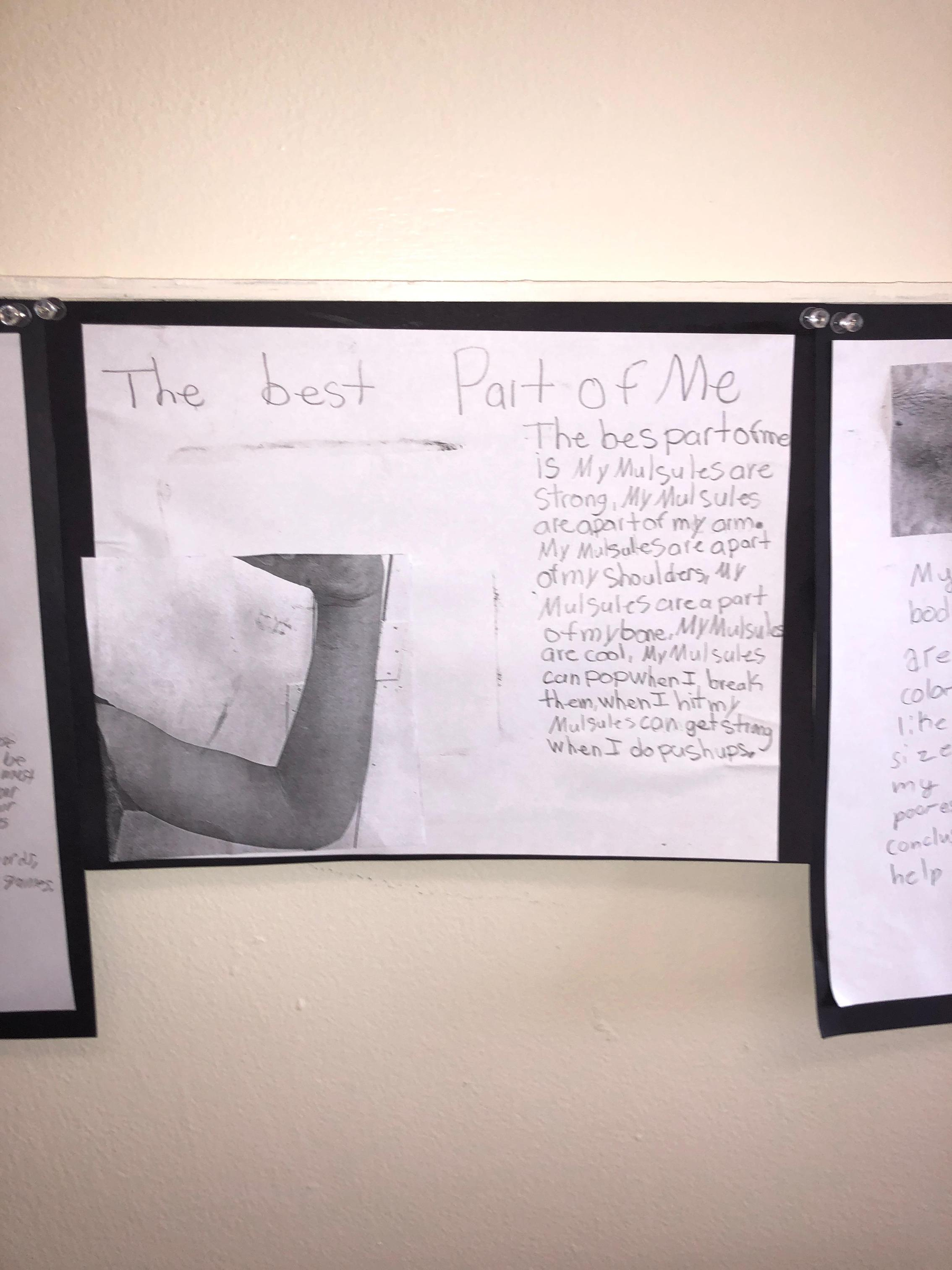 Fifth grade students do a body part project