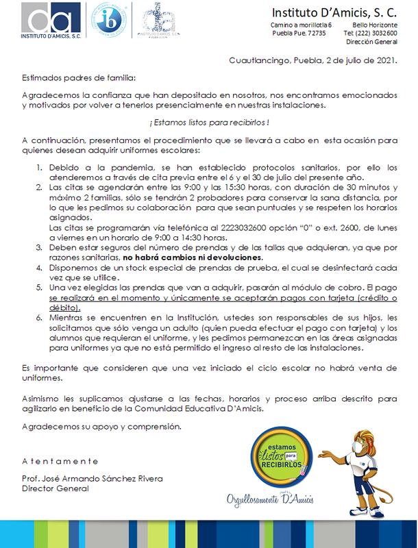 VENTA DE UNIFORMES CICLO ESCOLAR 2021-2022 Featured Photo