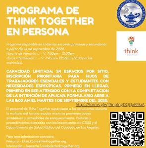 Inscripción del año 2020-2021 para el programa de Think Together en persona será disponible para estudiantes de trabajadores esensiales y estudiantes con necesidades especificas, empezando el primero de septiembre.