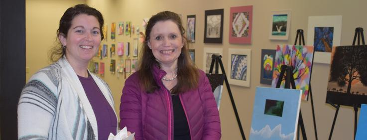 Pike County Art Council Members judge student art.