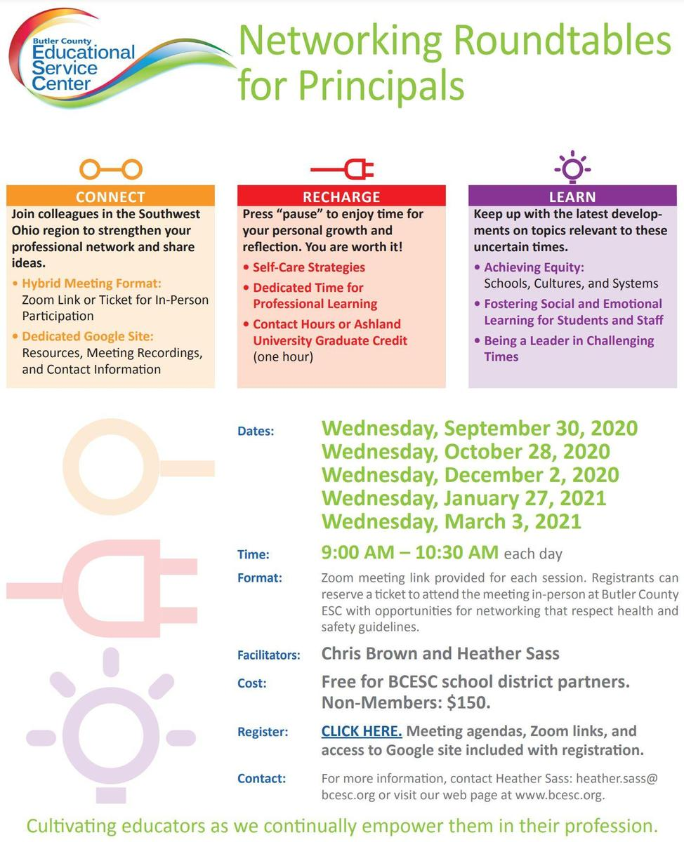 Networking Roundtable for Principals Flyer